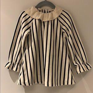 Black and Ecru Striped Ruffle Collar Top